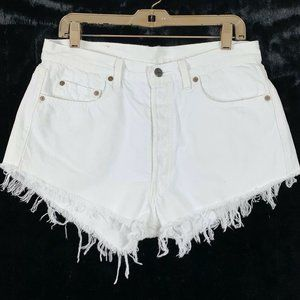 Levis 32 Cut Off Shorts Vintage ? Button Fly White